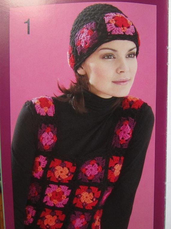 Crochet Granny Square Vest Pattern : 1970s Granny Square Hat Bag Vest Scarf Vintage Crochet