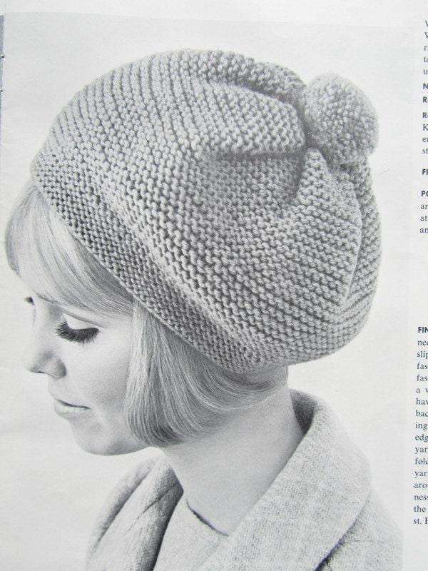Knitted Hat Pattern 1960s Vintage Hat Pattern Beret