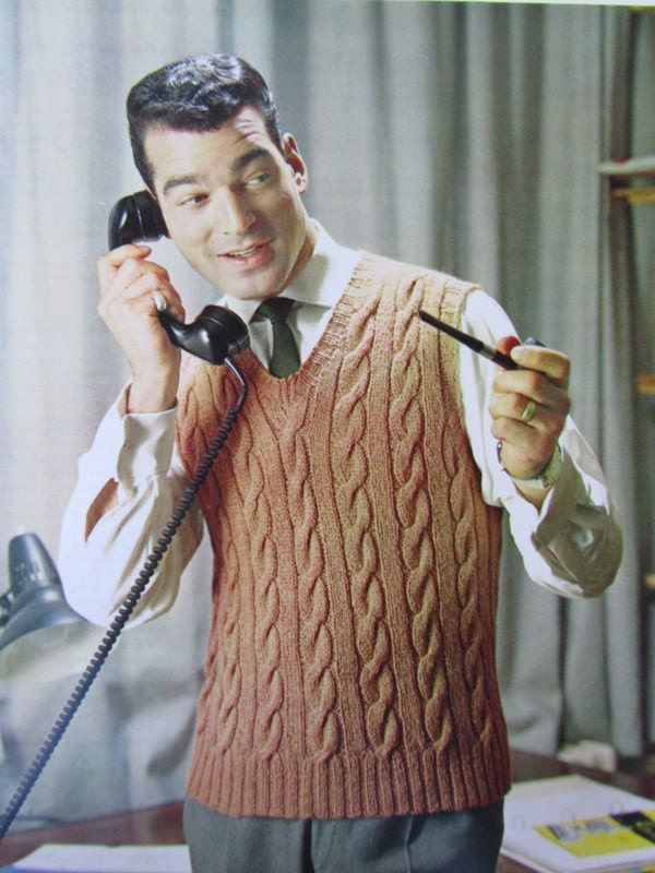 Knitting Pattern Central Men s Vests : Knit Sweater Vest Pattern PDF 1960s Vintage Pattern