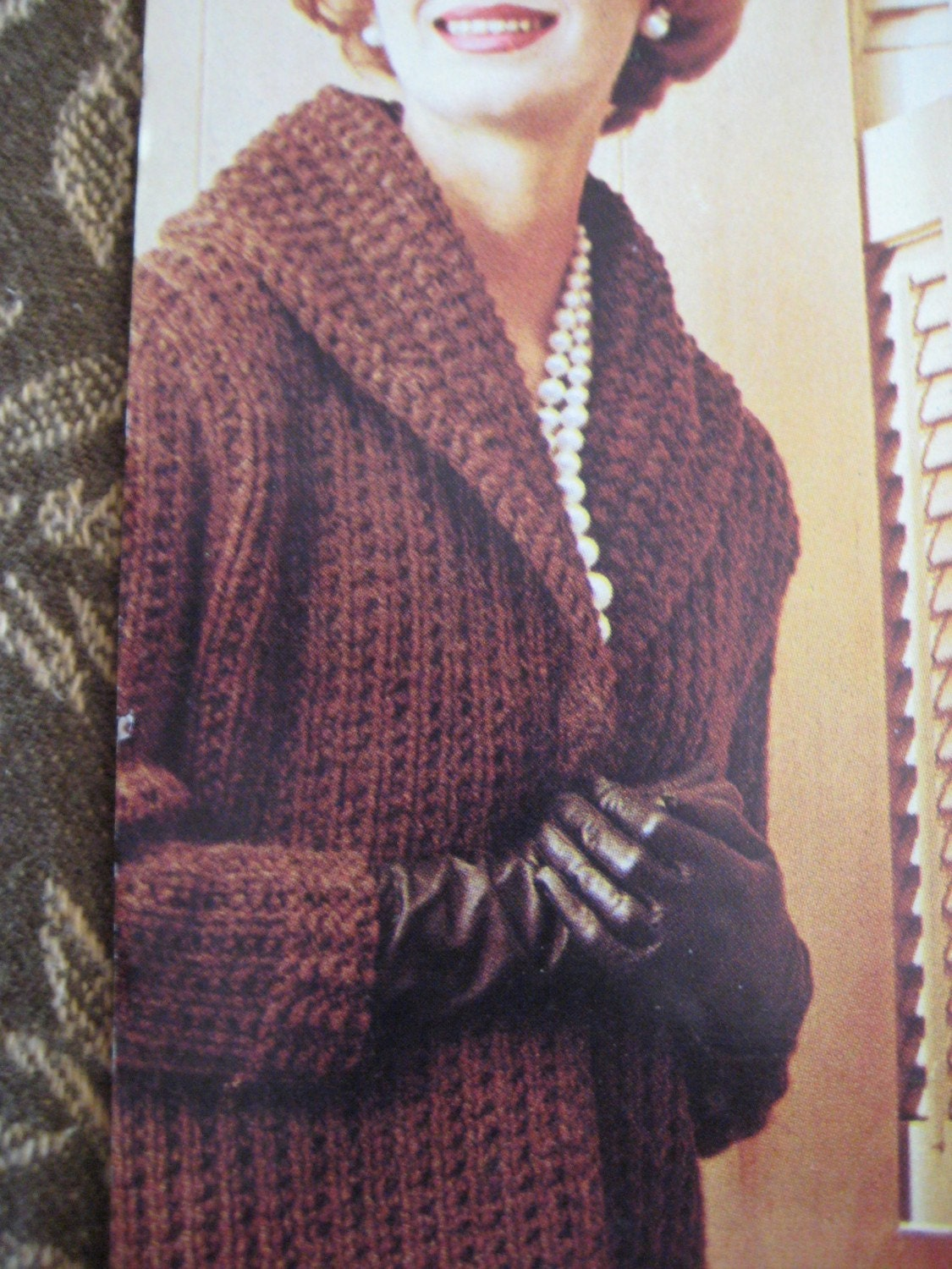 Sweater Coat Knitting Pattern : Knit Sweater Pattern Ladies Long Coat 1960s