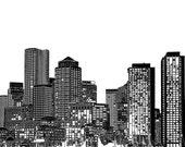 Boston Massachusetts Black and White Print