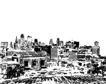 Kansas City Print Black and White