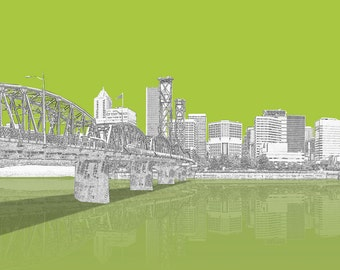 Portland Oregon set of 3 5X7 City Prints