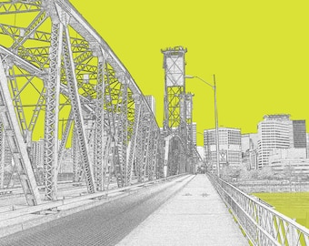 Biking Across Hawthorne Bridge Portland City Print
