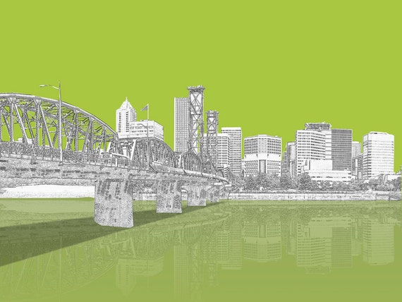 Portland Oregon set of 3 City Prints 8X10