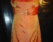 Vintage Shark Skin Yellow ,Gold and Orange Fabric Handmade  dress 60's