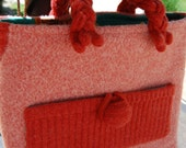 Pretty in Persimmon Felted Sweater Bag with Cosmetic Zipper Bag