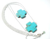 The Questa- turquoise, double strand,Native American-inspired silver necklace