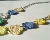Flirty spring flower thread and aged brass chain necklace -The Sweetest thing