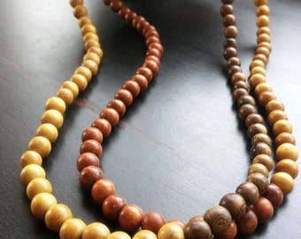 African inspired, ethnic, wood bead mens necklace- The Aziz