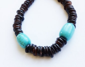 Men's turquoise and brown shell bracelet-ethnic mens bracelet-The Waduri