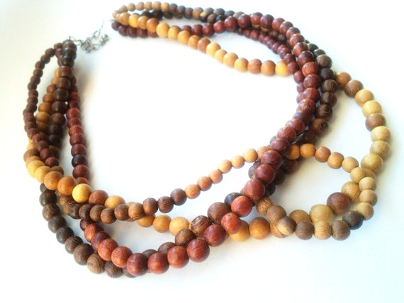 Layered wood necklace- wood bib necklace- African wood bean necklace- The Lola