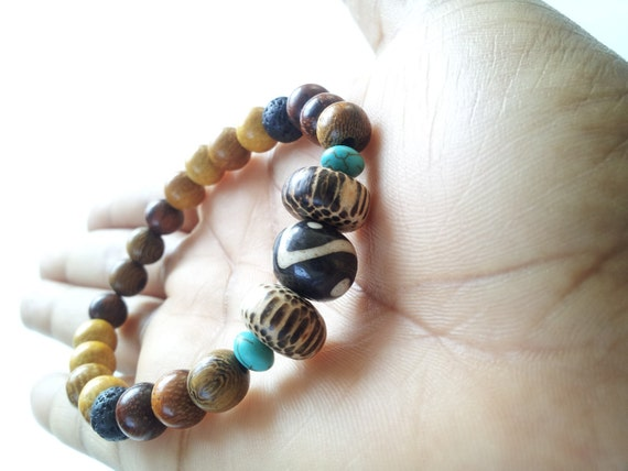 Ethnic, wood, horn, turquoise stackable stretch bracelet-  The Hassan