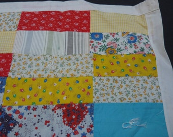 Vintage Patchwork Doll Quilt Wall Hanging Table Topper Primary Colors Tied Mini Pieced Quilt 30 x 17 in.