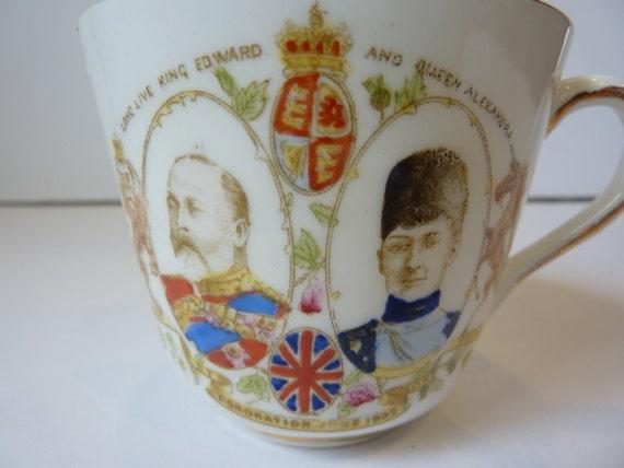 King Edward and Queen Alexandra Coronation Tea Cup w/ Gold Trim Longton China
