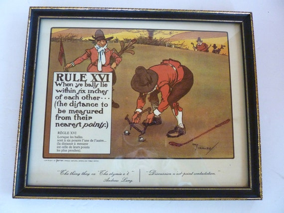 Antique Print Golf Rule XVI Lithograph Perrier C. Crombie 1900 Print Golf Rules Caricature 1960s Reprint Framed