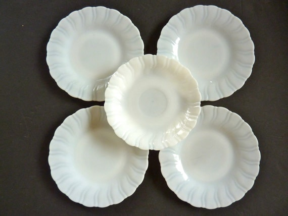 5 Monax Glass Plates  4 Swirl Edge Salad Bread Plates 1 Saucer  White Corning Glass Heat Resistant Depression Glass Milk Glass Plates