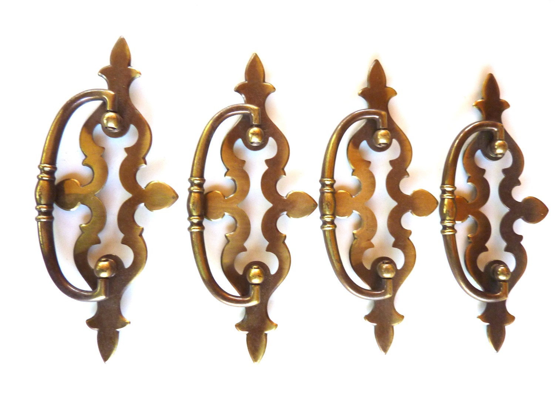 4 Drawer Pulls Antique Brass Bail Handle Hardware
