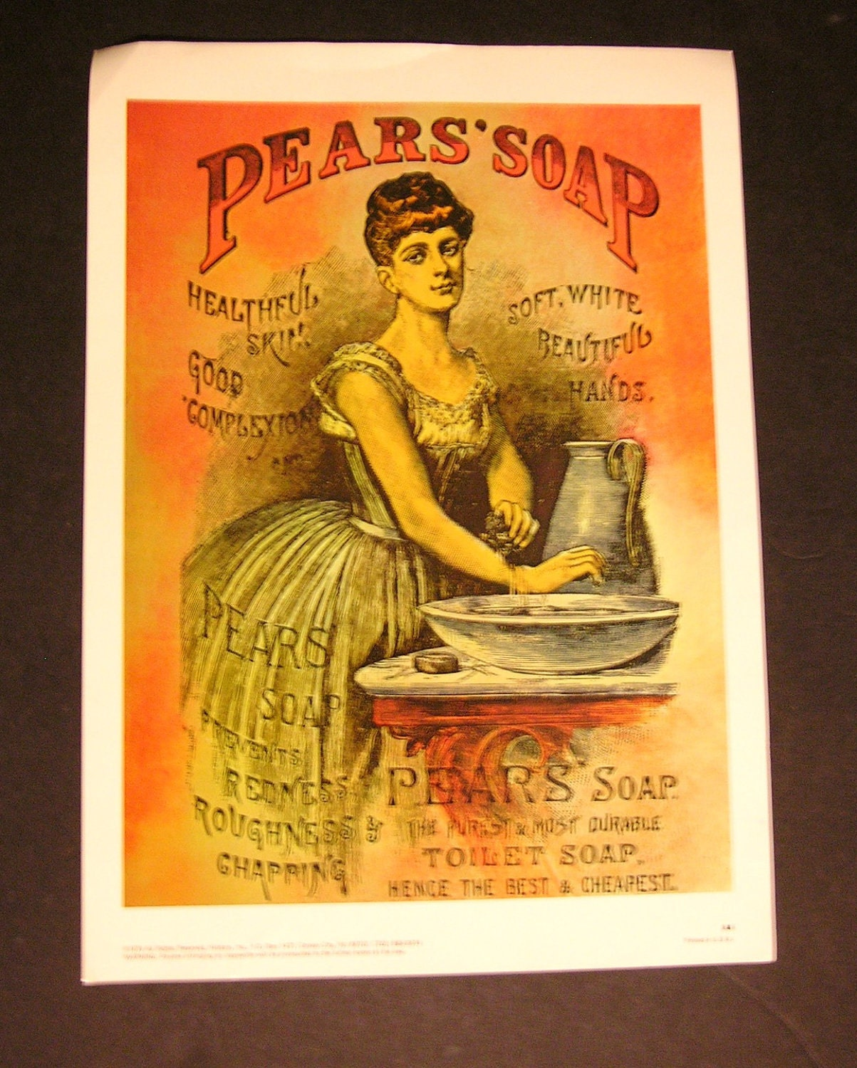Birdhouse Home Decor 1860 S Victorian Pears Soap Advertising Poster 1976