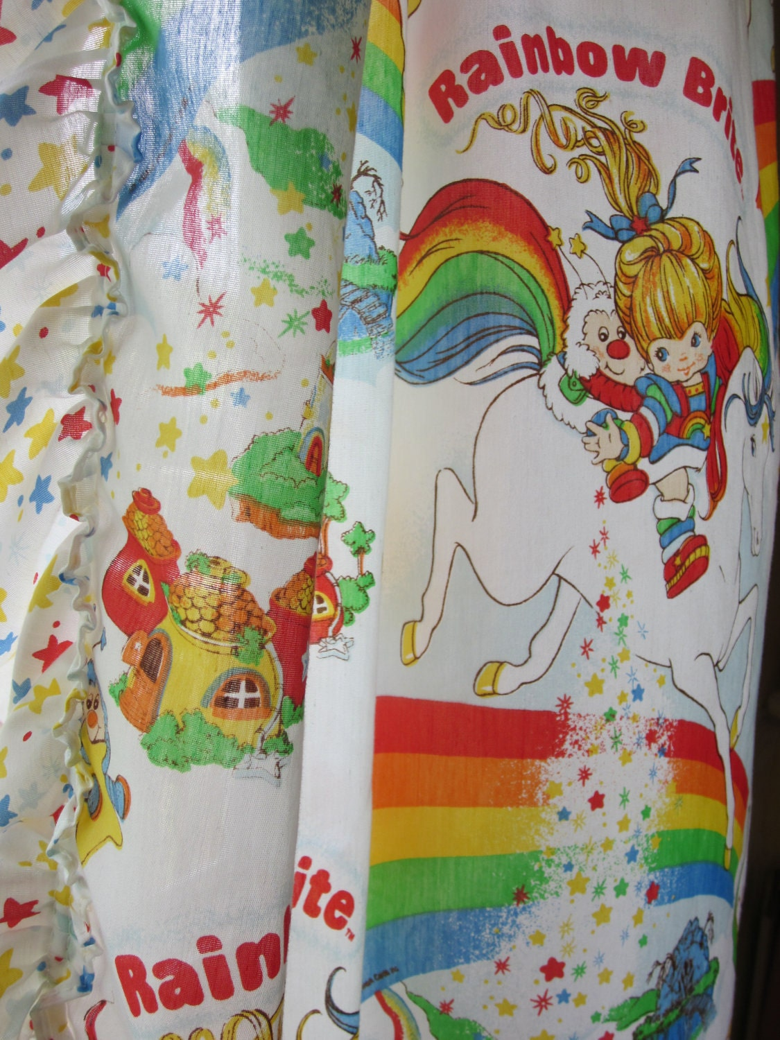 Vintage Rainbow Brite Fabric Curtain Panels Set Of Four