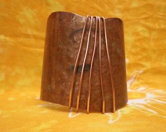 Big and Bold COPPER CUFF BRACELET Wire Wrapped Original Design
