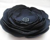 Midnight Blue Satin Flower Clip