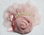 FCHR01  1PCS- 110mm chiffon ROSE with pearl - peach