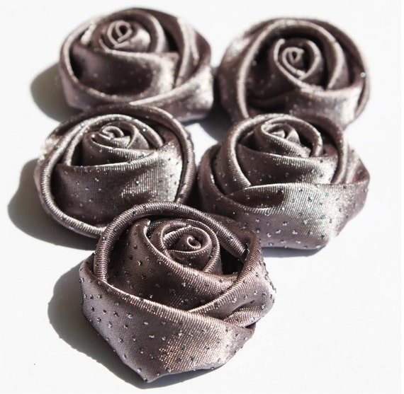 FA-62/5pcs- 32mm lovely Rose with glitter dots-gray