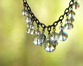 Mrs Sparkle - Eclectic Vintage Clear Crystal Dangle Assemblage Necklace (FreeShipping Worldwide)