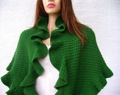 Forest Green Cashmere Kate Middleton Three Sides Ruffled Cute Shawl, Handknit, Ready to Ship, Express Delivery