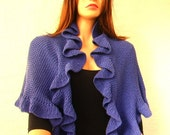 Violet Cotton Three Sides Ruffle, Frill Shawl, Bridal Wrap, Ready to Ship, Express Delivery