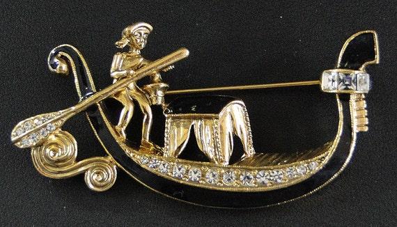 Black Enamel and Rhinestone Gondola Pin Brooch