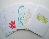 Set of 5 Letterpress Greeting Cards - YogaCards Collection
