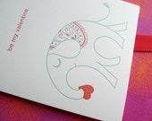 Letterpress Valentine Card - Elephant Love