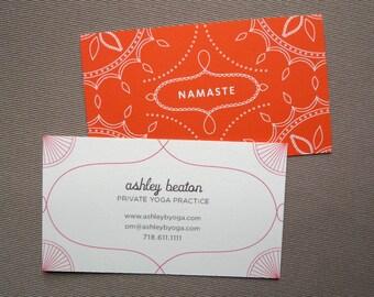 100 Custom Business Cards - Yoga Calling Cards - Namaste design