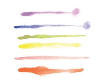 8 x 10 Watercolor Art Print - Minimal Multi Stripes