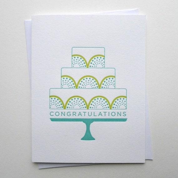 Congratulations Card - Wedding Congratulations Card - Congratulations Cake