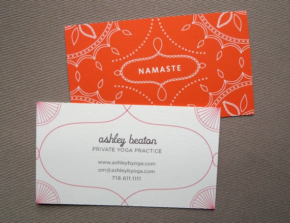 100 Custom Business Cards - Yoga Calling Cards - Namaste design
