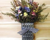 Country Vintage Grater Wreath with Dried Flower Bouquet