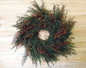 Large RUSTIC WREATH - made with Preserved Sweet Annie - Green and Rust - Soft and Fragrant - theflowerpatch