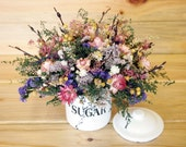 Country SUGAR TIN filled with Dried Flowers - Pinks and Purples