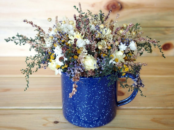 Blue Tin TEACUP filled with Country Dried Flowers - A Perfect Rustic Arrangement to give as a Gift