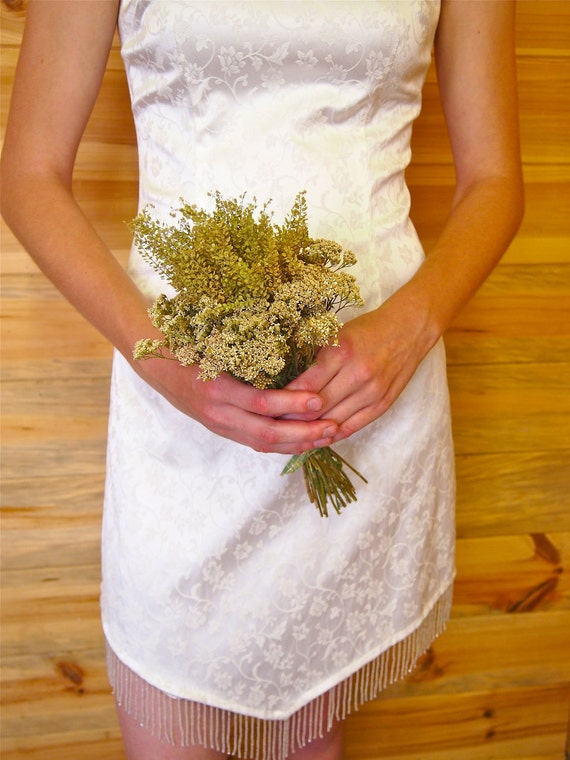 Prim ANTIQUE GREEN and IVORY Colored Bridesmaid Dried Flower Bouquet - Perfect for your Rustic Wedding