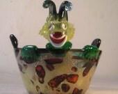 Vintage Mid Century Italian Murano Art Glass Bowl Clown A20