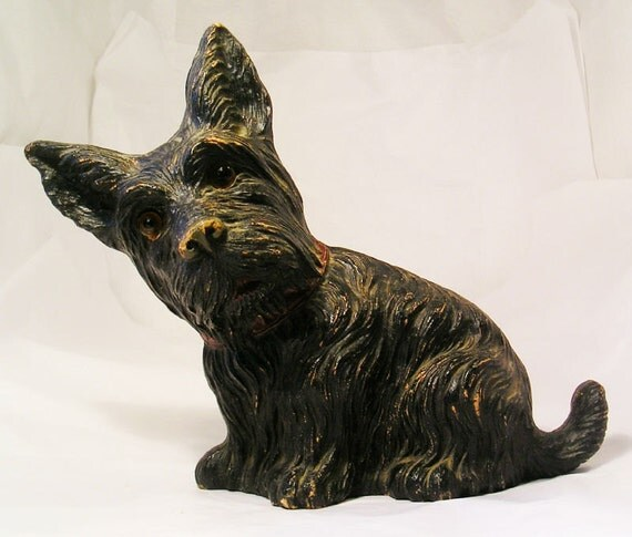 An Antique Glass Eye Scotty Syrocco Wood Terrier Dog Statue F93