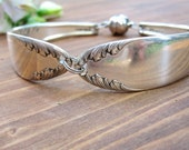 FEATHERED FINERY- Upcycled Floral Silverware Bracelet SIZE L