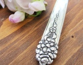 HEARTS AFIRE- Recycled Floral Silverware Handle Pendant
