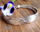 SHOWER ME with POSIES- Upcycled Floral Silverware Bracelet Sz L