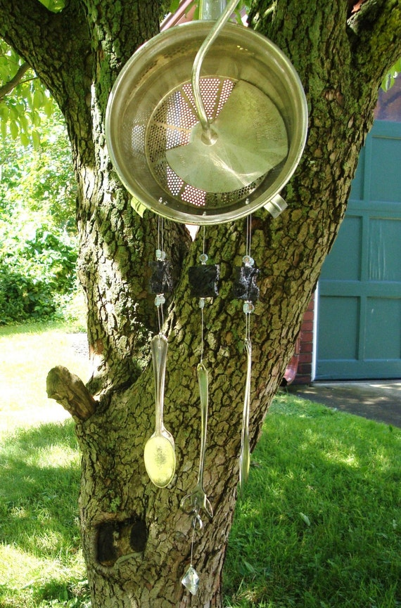 KITCHEN BREEZES- Upcycled Vintage Vegetable Reamer and Silverware Windchime