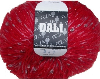 Feza Dali Yarn, Red Mohair Blend Plied With a Slubby SilvercColor Nylon Metallic Ribbon, Winter Accessories and More for Knitting